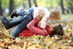 Happy Mom and Daughter in Autumn Park - FIRST LOVE - Crop - Blog - Sm